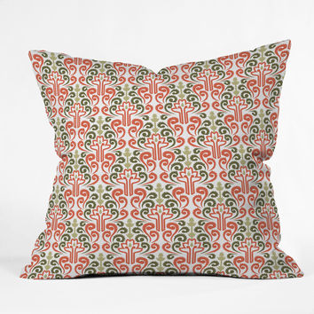Raven Jumpo Coral Damask Throw Pillow