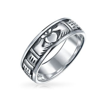BFF Celtic Irish Couples Claddagh Wedding Band Ring Sterling Silver