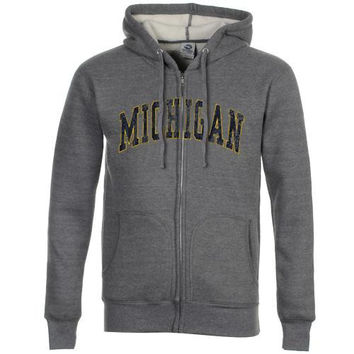 Michigan Wolverines Sherpa Full Zip Hoodie - Ash