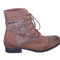 Lace up Military Combat Ankle Boot with Side Lace