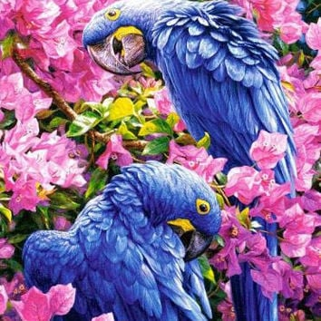 Full diamond embroidery Flowers in the two parrots Needlework cross stitch diy 5D diamond Painting diamond mosaic Home Decor