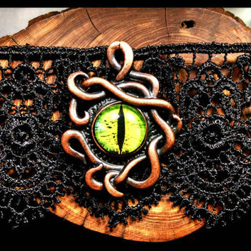 RTS Handmade Eye of Medusa Black Lace Choker with Green, Copper & Bronze Handcrafted Necklace Oddities Cthulu Gothic Jewelry Custom Length