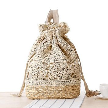 Beach bags Draw Crochet Straw Double Shoulder L59