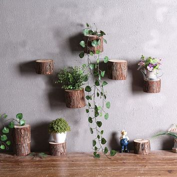Wall Hanging Ornament Simulation Wooden Stump Stereo Wall Mural Figurines & Miniatures Home and Garden Hanging Decoration Craft