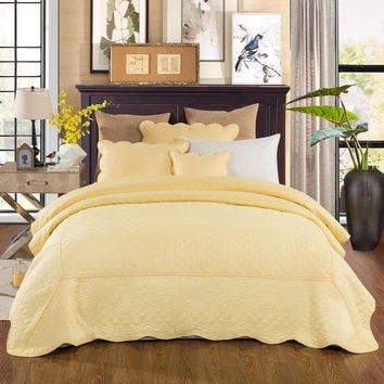 Tache 5 Piece Soild Yellow Quilted Buttercup Puffs Bedspread Set