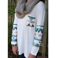 Havana Nights Ivory Tribal Sequin Sleeve & Pocket Top