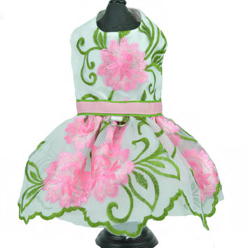 Pink Embroidered Flower Dog Pet Harness Dress