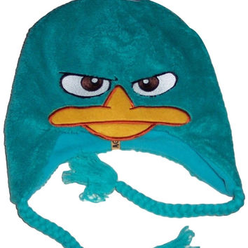 Disney Phineas and Ferb Agent P Super Soft Green Laplander Beanie Knit Hat