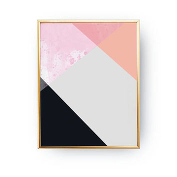 Pink Black Print, Geometric Textures, Colorful Print, Abstract Design, Textured Pastel Decor, Minimal Poster, Modern Shapes, Simple Wall Art