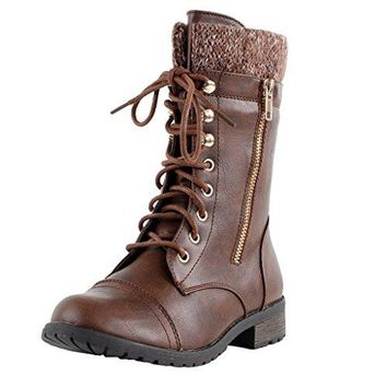 Forever Link Womens Mango-31 Round Toe Military Lace Up Knit Ankle Cuff Low Heel Combat Boots Brown 7