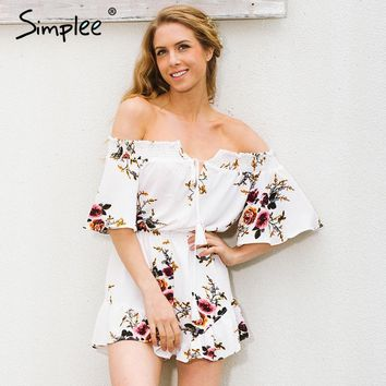Simplee Off shoulder print jumpsuit romper women Sexy high waist summer beach playsuit Boho tassel chiffon overalls leotard