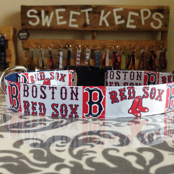 Dog Collar Made from Boston Red Sox Inspired Ribbon