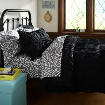 Ruched Duvet Cover + Sham, Black