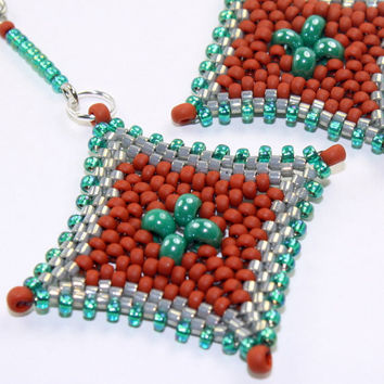 Beaded earrings / peyote stitch bead woven dangle earrings, turquoise, terra cotta, OOAK / handmade