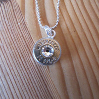 38 Special Bullet Necklace with Clear Swarovski Crystal Accents - April Birthstone - Small Thin Cut - Classic - Girls with Guns