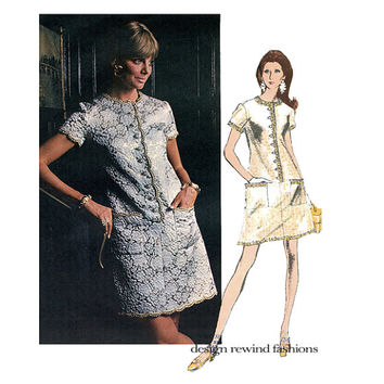 1960s VOGUE EVENING DRESS Pattern A-Line Cocktail Dress Oscar De La Renta Vogue 2220 Americana Bust 38 Vintage Womens Sewing Patterns UNCuT