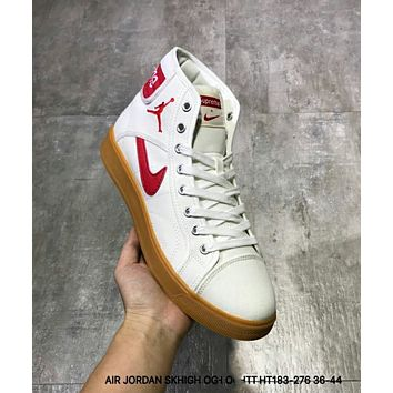 NIKE AIR JORDAN SKHIGH OG X SUPREME Trending Women Men Leisure High Help Canvas Flat Sport Shoe Sneakers White(Red Logo) I-CSXY