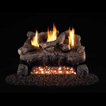 "Peterson Real Fyre Vent Free G18 Burner with 30"" Charred Evening Fyre Log Set"