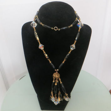 Vintage Rhinestone Type and Speckled Black with Gold Beaded Coro Necklace with Box