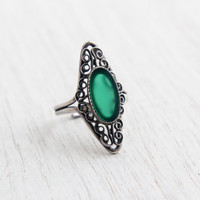 Vintage Sterling Green Stone Ring - Retro Filigree Signed Beau Adjustable Faux Chrysoprase Jewelry / Dark Green Statement