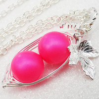 Two Peas In A Pod Neon Pink Pendant Necklace - Retro Style