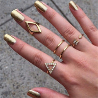 5 PC Punk Fashion Jewelry Ring Set
