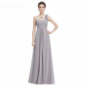 One Shoulder Chiffon Padded  Empire Waist Evening Dress