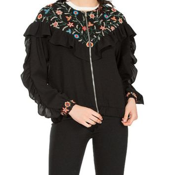 Casual Embroidery Ruffles Long Sleeve Jackets For Women