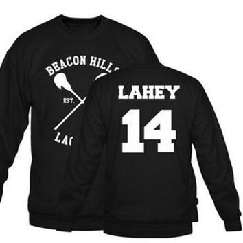 Beacon Hills Lacrosse 11 14 24 Logo Wolf Men Hooded Hoodie TeenWolf Stiles Stilinski Teen Sweatshirt Men Pullover