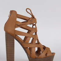 Qupid Snake Caged Lace Up Platform Chunky Heel