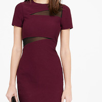 Berry Mesh Inset Jacquard Sheath Dress from EXPRESS