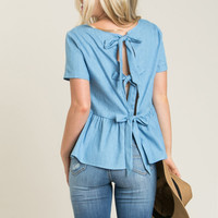 Makenna Chambray Bow Back Top