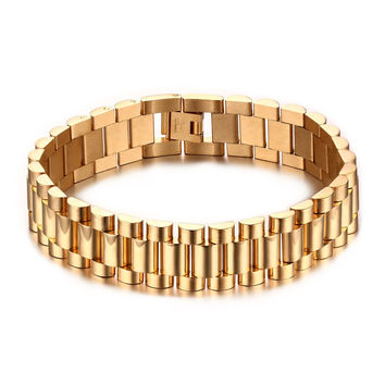 Meaeguet 15mm Luxury Men Watch Band Bracelet Gold Plated Stainless Steel Strap Links Cuff Bangles Jewelry Gift 22CM
