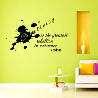 Creativity is the greatest rebellion in existence OSHO Quote Yoga Wall Decal Vinyl Sticker Wall Decor Home Interior Design Art Mural vk76