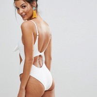River Island Textured Knot Front Swimsuit at asos.com