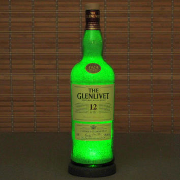 The Glenlivet George Smith 12 year Scotch Whiskey Liquor Bottle Lamp Accent Light Bar Man Cave Fathers Day