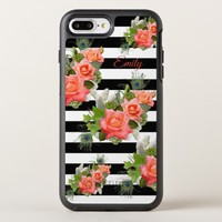 Roses Peacock Feathers Striped Pattern Add Name OtterBox Symmetry iPhone 8 Plus/7 Plus Case