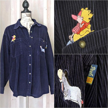 Vintage Pooh shirt / size L / womens 90s Disney /  button down corduroy shirt / overshirt / Eeyore Pooh Piglet / navy blue cord shirt