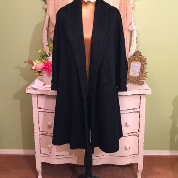 40s 50s Black Swing Coat, 1950s Vintage Wool Coat, Winter Outerwear, Warm Winter Coat, Hollywood Glam Coat, Womens Size Small, Fabulous!