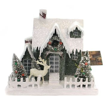 Christmas VINTAGE PUTZ CHRISTMAS HOUSE LG Paper Lighted Lc4591 Green