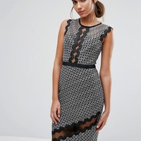 Three Floor Midi Pencil Dress in Contrast Lace with Piping at asos.com