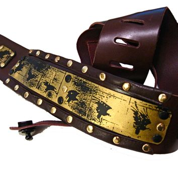 Padded Guitar Strap - Handmade Studded Leather Strap Printed with Birds
