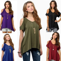 9 Colors Women Short Sleeve Casual Solid Tops T-shirt Blouse