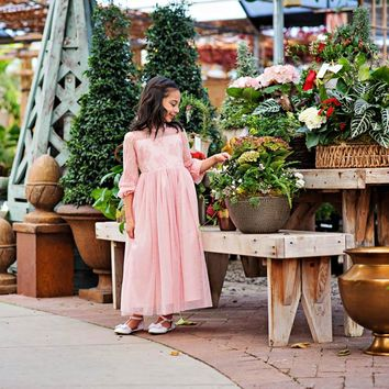 Pink Layla Ruffle Bell Sleeve Gown Dress