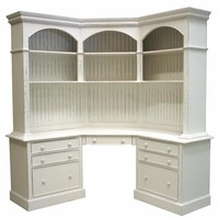 Island Corner Desk 82H x 64.25W Corner Out Along Wall at Desk Top, Six Shelves, Seven Drawers