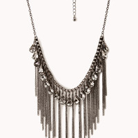 FOREVER 21 Fringe Queen Bib Necklace Dark Grey One