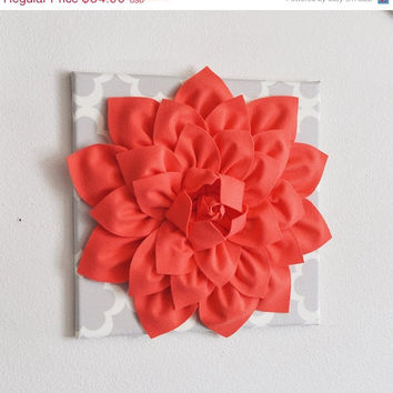 MOTHERS DAY SALE Large Coral Flower on Neutral Gray Tarika Wall Hanging -Flower Wall Decor-