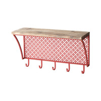 Wooden Shelf with Red Metal Pattern and Hooks