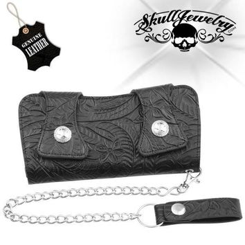 Genuine Leather Tooled Double Snap Biker/Trucker Wallet (wallet014)