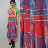 Vintage Plaid Skirt 90s MED Soft Grunge Preppy Hipster Tea Length Skirt Pink Women's Clothing 1990s Blue White Tartan Cute Buttons girly